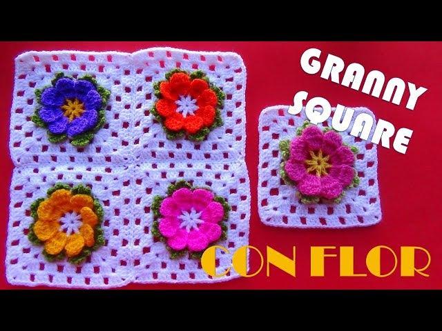 Como tejer Flor a Crochet, Como convertir una Flor en Granny Square, Como unir cuadrados a crochet