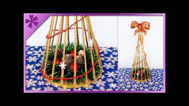 DIY How to make paper wicker Christmas tree ENG Subtitles Speed up 419