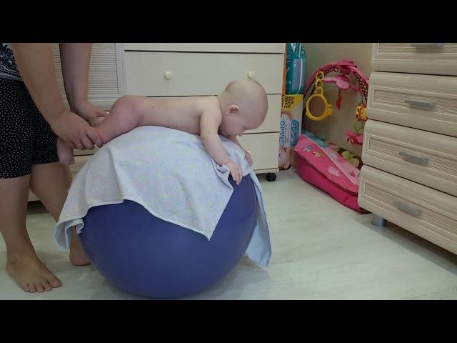 Зарядка с малышом (новорожденным) 3,4,5 месяцев на фитболе (мяче)