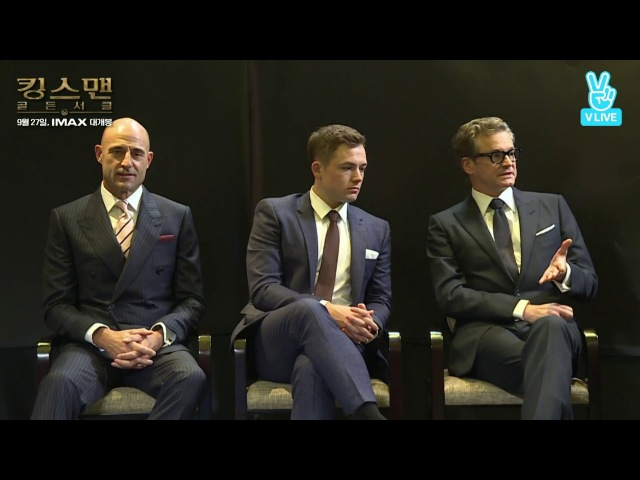 Kingsman Gorgeous Gentlemen-Spies in Korea/C. Firth, M. Strong, T. Egerton Talk at Length