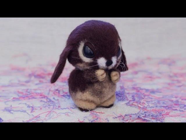 Пошаговый мастер-класс по сухому валянию из шерсти, для начинающих. Как сделать забавного кролика.