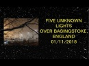 IN FORMATION - FIVE UNKNOWN LIGHTS FILMED OVER BASINGSTOKE, ENGLAND ON 01/11/2018