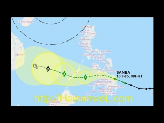Typhoon SANBA on February 14, 2018 will enter in the South China Sea