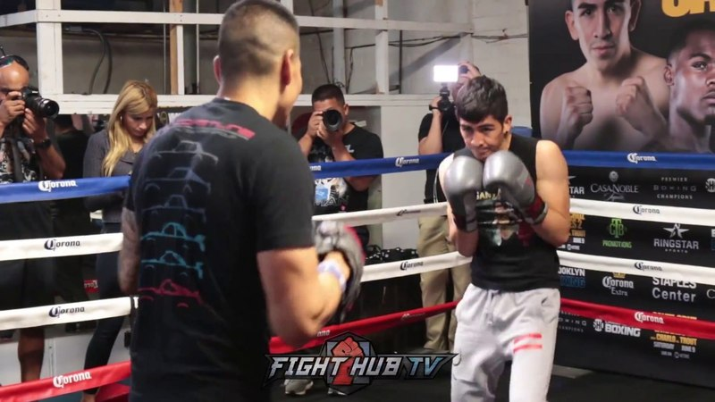 LEO SANTA CRUZ BEAST MODE MITTS WORKOUT FOR ABNER MARES REMATCH