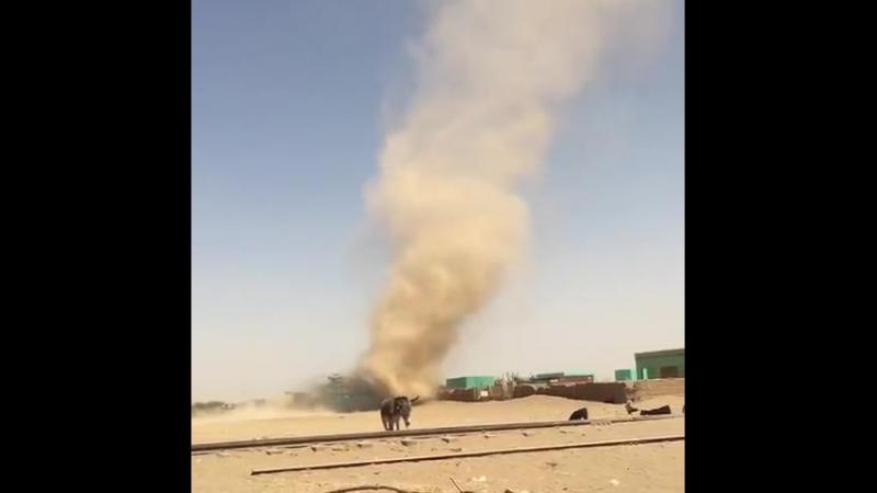 Diablo de Polvo sobre una zona de Aroma, Ash Sharqiyah, Sudan, el 12.03.2018 por Kentaro Tsubakihara. Impresive Dustdevil Phenom