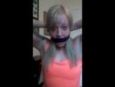 Blonde self gagging