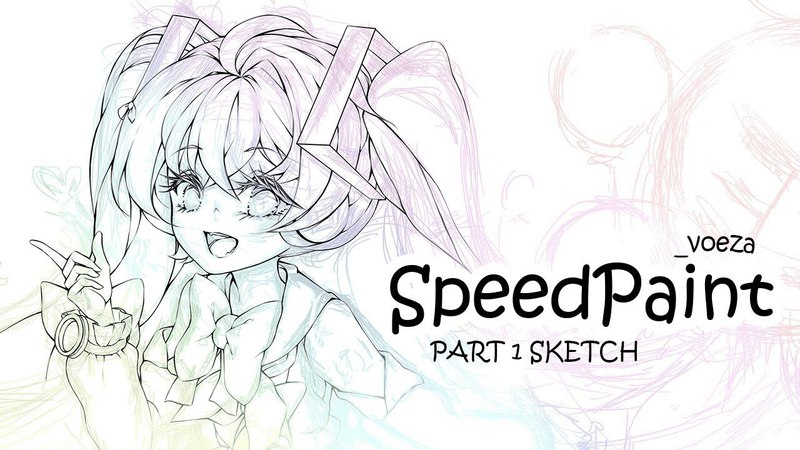 [SpeedPaint] Part 1 - Sketching (Hatsune Miku Magical Mirai 2018)