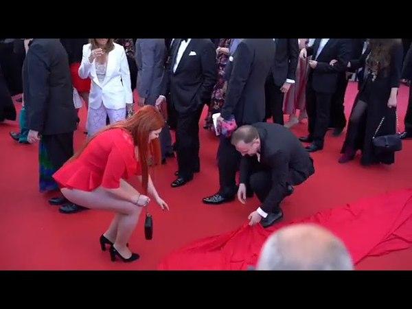 Русская модель plus-size потеряла юбку на красной дорожке в Каннах