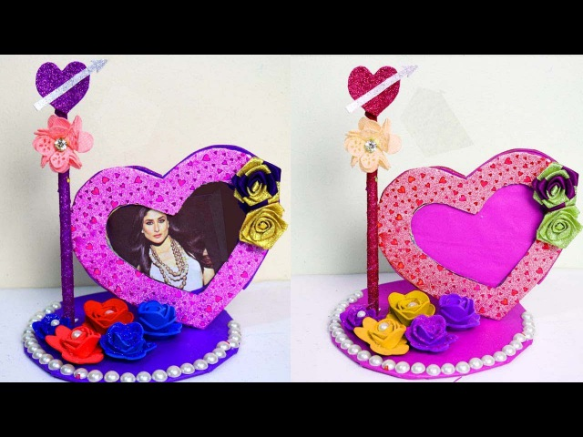 How to make heart shaped Photo frame Photo frame making with waste material Handmade photo frame
