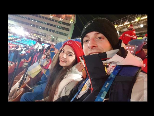 Closing Olympic ceremony 2018 PyeongChang Moris Kvitelashvili, Evgenia Medvedeva , Ekaterina Bobrova