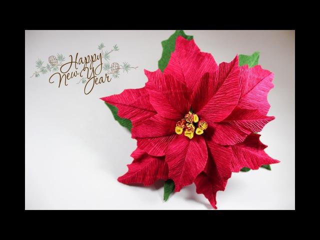 Пуансеттия из гофрированной бумаги | Мастер-класс | Цветок РОЖДЕСТВЕНСКАЯ ЗВЕЗДА из бумаги