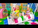 Кукла Беби Бон и Настя игрют на детской площадке Baby Born Doll playing at the indoor playground
