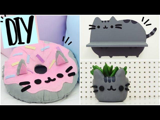 DIY KAWAII Decoração de Quarto Pusheen Cat ✨ Almofada Donut Prateleira e mais 💖