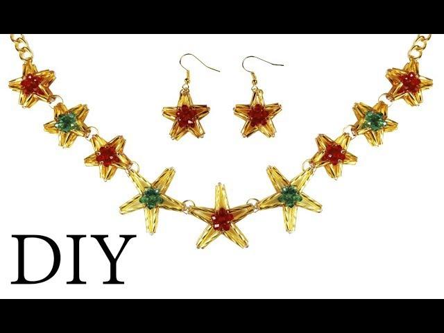 DIY beaded ★ STAR ★ Christmas earrings (necklace) Новогодние серьги звездочки из бисера (колье)