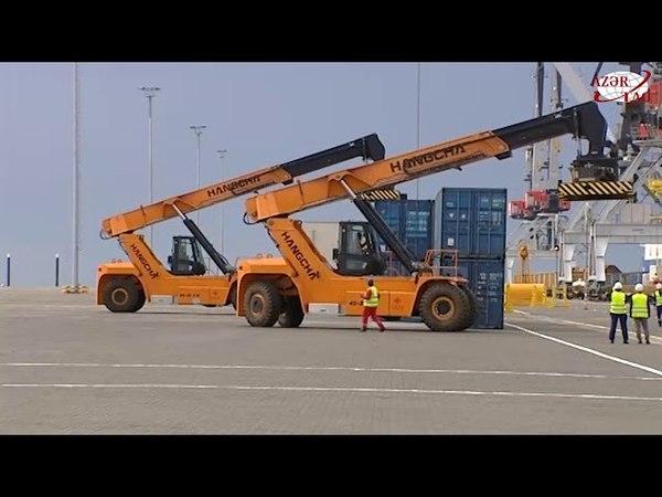Prezident İlham Əliyev Bakı Beynəlxalq Dəniz Ticarət Limanı Kompleksinin açılışında iştirak edib