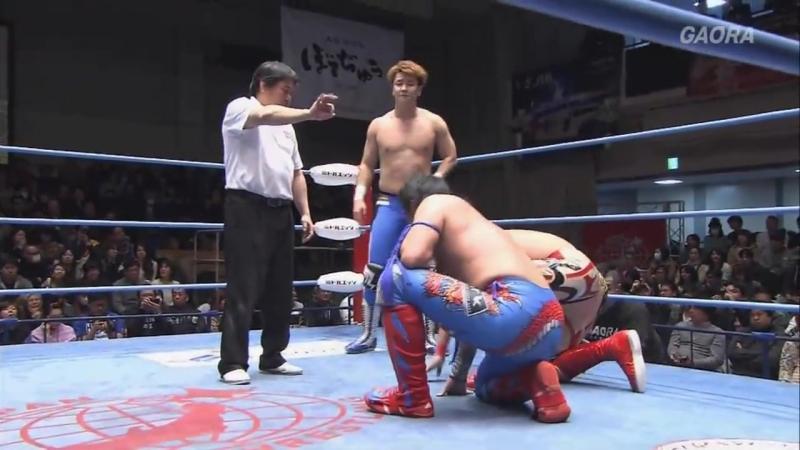 Kento Miyahara, Yoshitatsu, Yuma Aoyagi vs. Atsushi Maruyama, The Bodyguard, Zeus (AJPW - New Year Wars 2018 - Day 2)