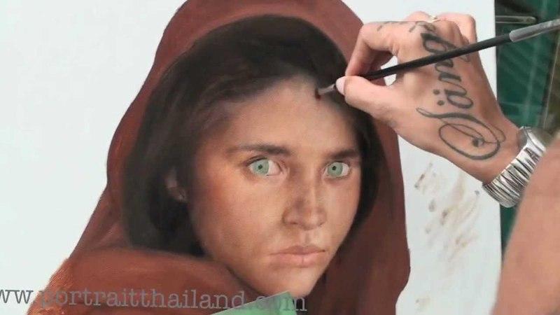 Sharbat girl speed oil portrait painting