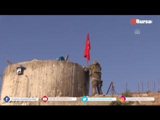 Afrinin Burseya Dağına Türk Bayrağı dikildi