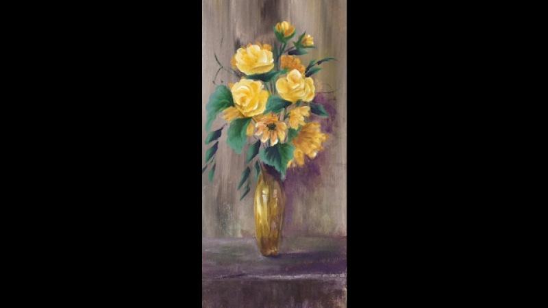 Желтые цветы акрилом. Рисуем вазу, фон, ромашки, розы.Flowers- roses, daisies, vase, in acrylic.