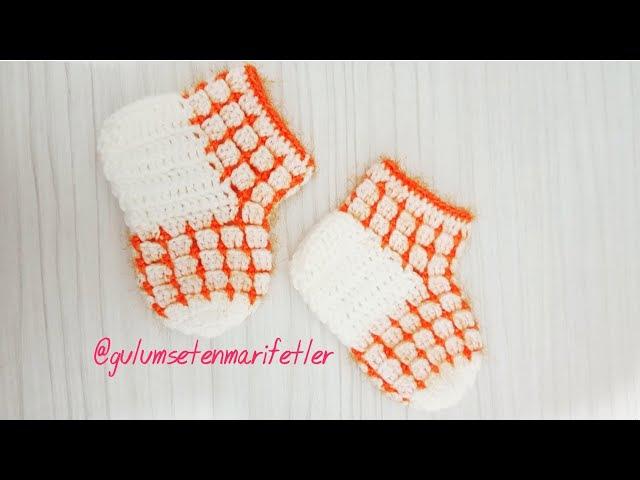 Tığ işi bebek patik modelleri Kolay bebek patiği yapılışı