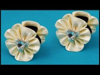 DIY Kanzashi   Blumen Hochzeits Haarschmuck   Wedding / bridal flower hair clip   accessories