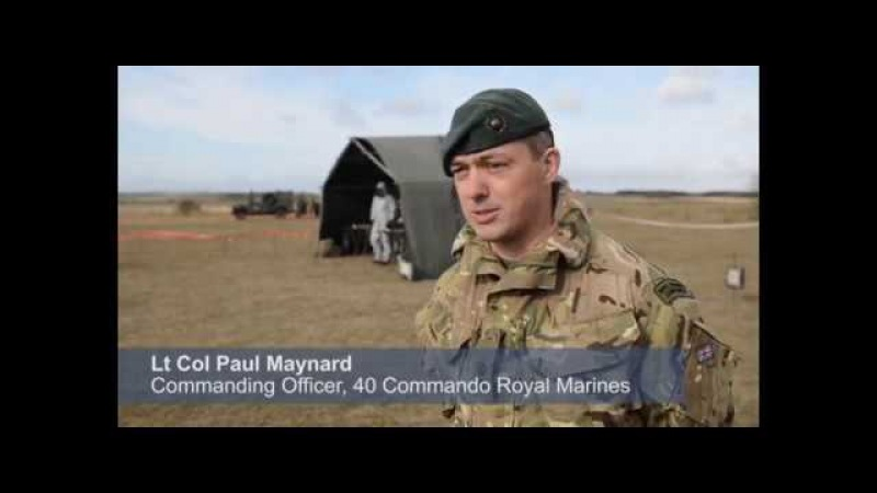 Dstl's Jav Jaffer Lt Col Paul Maynard CO 40 Cdo talking about Ex Toxic Dagger
