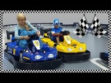 Elsa VS C. America Bumper Car Race Fun Indoor Playground for Kids Jessi and Nick Show