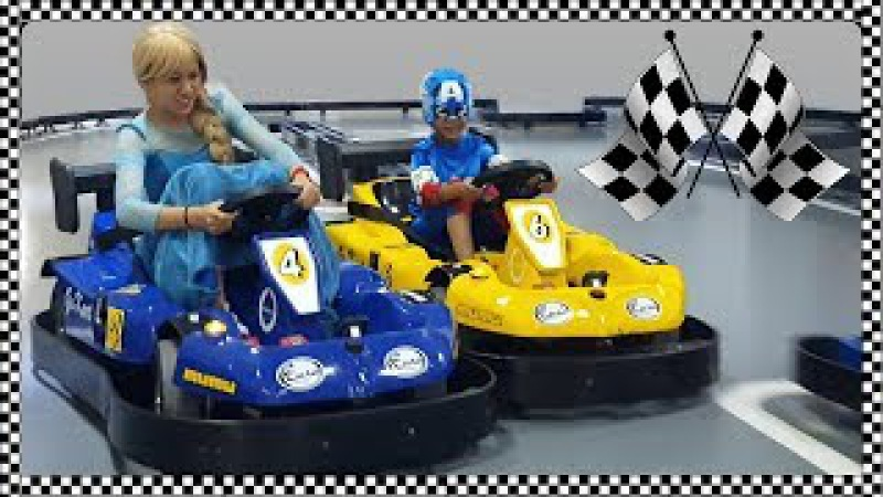 Elsa VS C. America Bumper Car Race | Fun Indoor Playground for Kids | Jessi and Nick Show