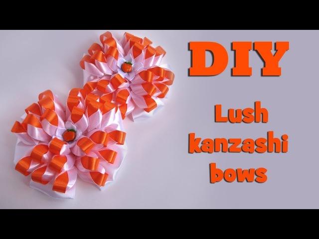 DIY Lush kanzashi bows of satin ribbons Tutorial