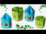 How to diy origami pencils holder easy paper craft Оригами из бумаги подставка для карандашей