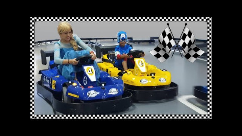 Elsa VS C. America Bumper Car Race | Fun Indoor Playground for Kids | Jessi and Nick Show