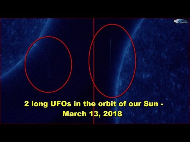 2 long UFOs in the orbit of our Sun - March 13, 2018 (НЛО возле Солнца)