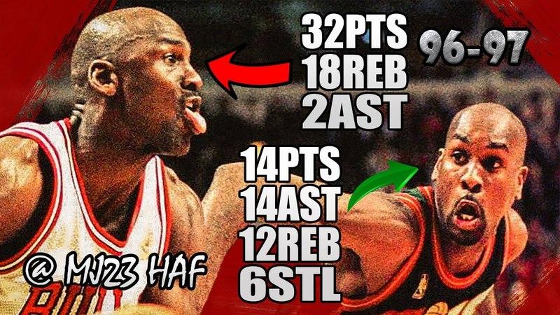 Michael Jordan vs Gary Payton Highlights vs Supersonics (1997.03.18) - 46pts Total! PHYSICAL BATTLE!