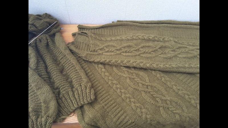 Ч.2.Мужской свитер с аранами и косами, вязание спицами из шерстяной пряжи