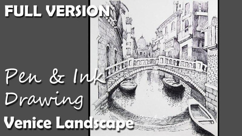 Pen Ink Drawing Venice Landscape FULL VERSION