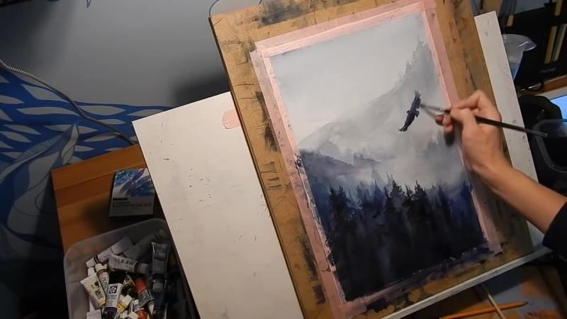 5 Watercolour painting. Landscape, mist, fog forest, eagle. Рисуем акварелью.