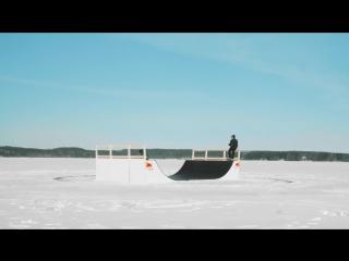 FROZEN SKATE FUN_ Skateboarding a spinning ice carousel