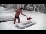 Как встречают первый снег в Норвегии (6 sec)
