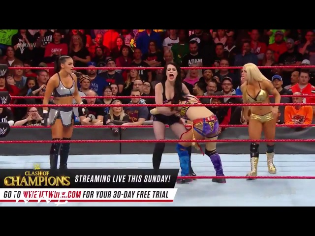 Paige Mandy Rose and Sonya Deville were beaten and expelled from the ring