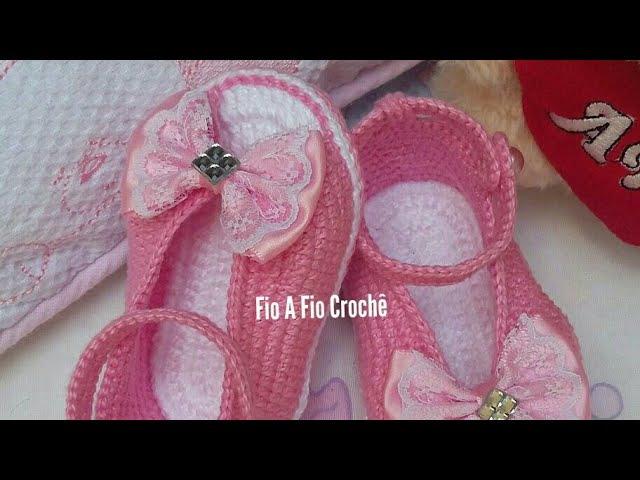 Sapatilha Alice em Crochê- tamanho 10cm