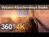 360, Eruption of Volcano Klyuchevskaya Sopka, Kamchatka, Russia. 4K aerial video