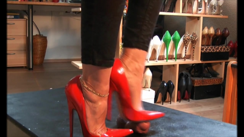 Red High Heels Cock Trample, Foot