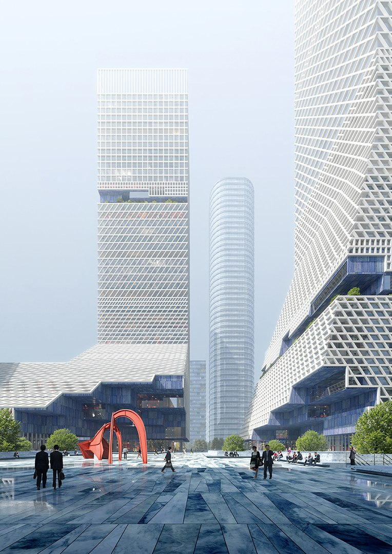 Mecanoo's proposal for China merchants bank HQ is organized around a large public plaza