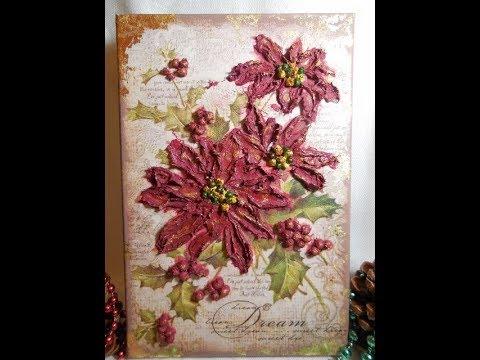 DIY-Christmas Mixed Media Canvas-Decoupage su tela a rilievo/3D-Decoupage Christmas on Canvas