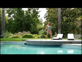 PornoStar ∞ August Ames Sexy Strip Tease in Blue Bikini Hot Girl Big Tits Big As