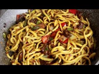 ЦОМЯН лагман. ЖАРЕНЫЙ ЛАГМАН. Гуйру цомян. Уйгурская кухня. Дунганская кухня