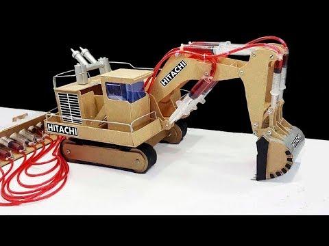 How to Make JCB Hitachi Remote Control Hydraulic Excavator Crane From Hardboard 'at Home DIY
