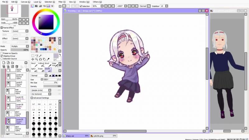 【Speedpaint】- Headband Girl (как рисовать аниме в саи. чиби)