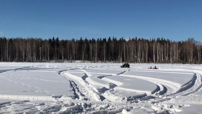 Катание в санях на снегоходе