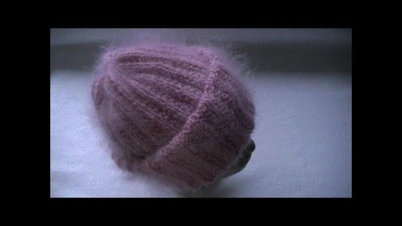 Вязание шапки из мохера с двойным отворотом узором польская резинка.